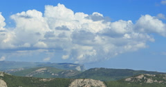 Clouds over the mountains, the south of the Crimea. Time Lapse Stock Footage