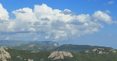 Clouds over the mountains, the south of the Crimea. Panorama. TimeLapse Stock Footage