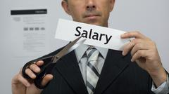 Businessman Cuts Salary Concept - stock photo