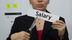 Businesswoman Cuts Salary Concept - stock photo
