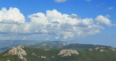 Clouds over the mountains, the south of the Crimea. Zoom. TimeLapse Stock Footage