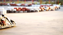 Background blur outdoor karting , leisure  Stock Footage