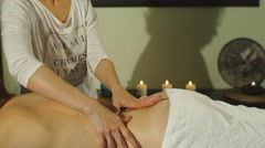woman getting a back massage hands - stock footage