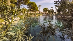 Cleopatra's Pool in antique Hierapolis, Pamukkale, Denizli, Turkey. Timelapse Stock Footage
