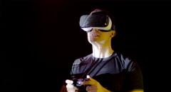 Man Console Virtual Reality Headset Play 3D Gaming Internet Entertainment - stock footage