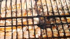 Juicy meat is fried in a lattice on fire Stock Footage