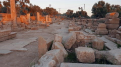 Ruins of ancient roman street with porticos. Nysa, Sultanhisar, Turkey. 4k Stock Footage