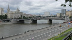 View of the Borodinsky Bridge, Moskva-River Embankment with traffic and White Stock Footage