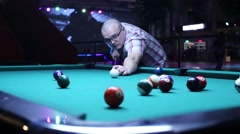 Man Gets The Ball In The Pocket Billiards Pool Stock Footage