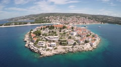 Aerial Shot.  Small Town Island Sea - stock footage