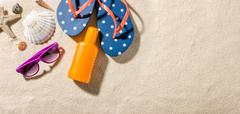 Some beach accessories with copy space on the right side Stock Photos