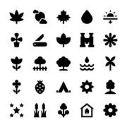 Black Nature and Ecology Vector Icons - stock illustration