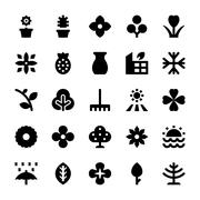 Black Nature and Ecology Icons - stock illustration