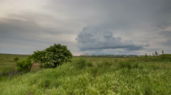 The movement of the thunderclouds over the fields in the vast steppes of the Don - stock footage