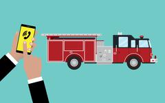 call calling firefighters someone hold phone and firefighter truck - stock illustration