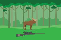 Moose hunter illustration in the bush forest tree with rifle vector illustration Stock Illustration