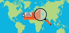 Searching flight recorder black box with map as background and magnifying glass Stock Illustration