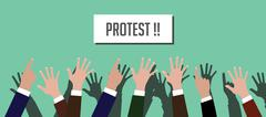 protest illustration people crowd with hands raised up with placard vector - stock illustration