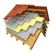 Roof thermal insulation 3D rendering - stock illustration