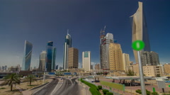 Skyline with Skyscrapers timelapse hyperlapse in Kuwait City downtown. Kuwait Stock Footage