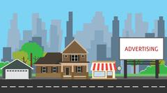 billboard advertising space on side way middle city vector graphic - stock illustration