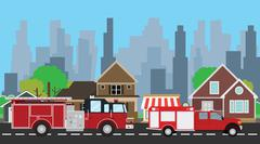 firefighters truck on the way with city home as background - stock illustration