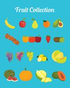 fruit collection images with bright color vector graphic - stock illustration