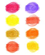 Set of abstract color drawn elements Stock Illustration
