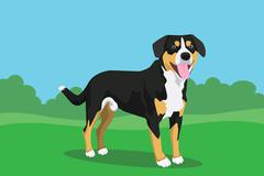 dog cute single isolated with grass and bush tree background vector graphic - stock illustration