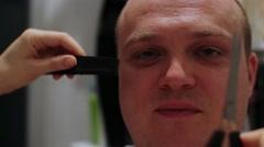 Man Eyebrow Grooming - stock footage