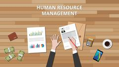 human resource management hrd with people hand working on cv and graph money - stock illustration