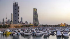 Yachts and boats at the Sharq Marina day to night timelapse in Kuwait. Kuwait Stock Footage