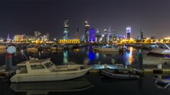Yachts and boats at the Sharq Marina night timelapse hyperlapse in Kuwait Stock Footage