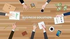 business solution with people hand working on cv and graph money vector graphic - stock illustration