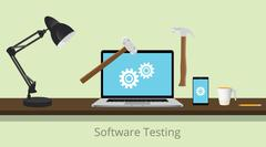software testing illustration with laptop and gear and hammer illustrated to - stock illustration