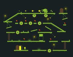 Mobile game level platform interface - stock illustration