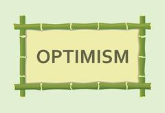 Optimism single isolated text with bamboo board sign vector graphic illustrat Stock Illustration
