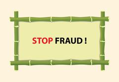 Stop fraud text with red text and bamboo board vector graphic illustration Stock Illustration