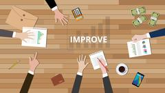 team discuss to make improve improvement to increase their business vector - stock illustration