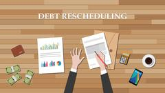 Debt rescheduling on the desk with graph money calculator smartphone vector Piirros