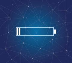 Empty battery batteries with icon and blue background dot galaxy vector graphic Stock Illustration
