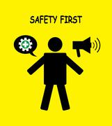 Safety first icon symbol human with yellow background Stock Illustration