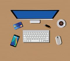 workspace with computer keyboard mouse coffee smartphone - stock illustration