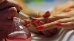 Making Nails Red Manicure Stock Footage