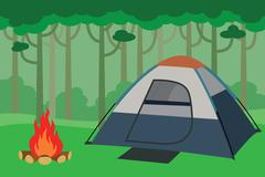 tent camping inside the jungle with trees forest and bonfire - stock illustration