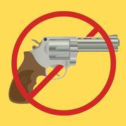 no gun ban control pistols with ban-sign - stock illustration
