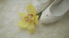 White shoes with a flower Stock Footage