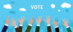 People give vote with raise his hand blue background vector Stock Illustration