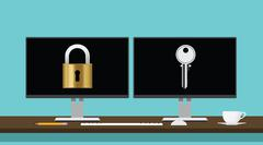 Encrypt decrypt concept with lock and key translation secure security Stock Illustration
