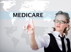 Medicare written in search bar on virtual screen. Internet technologies in Stock Photos